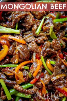 Mongolian Beef is a combination of juicy beef steak, seared peppers, onions, and green scallions all brought together with a sweet & savory Mongolian beef sauce. Meat Recipes, Asian Recipes, Cooking Recipes, Healthy Recipes, Ethnic Recipes, Recipies, Beef Chunks Recipes, Thin Steak Recipes, Chinese Beef Recipes