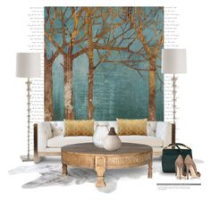 Golden day art... by gloriettequartet on Polyvore featuring interior, interiors, interior design, home, home decor, interior decorating, Vesper Dresses, Arteriors, Home Decorators Collection and JEM