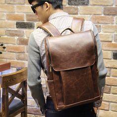 Vintage Men's Leather Backpack bags Messenger rucksack laptop bag #UnbrandedGeneric #MessengerShoulderBag