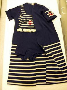 Navy and cream striped beachwear (bathing suit with belt, and robe), by Hermès, French, 1929-1932.