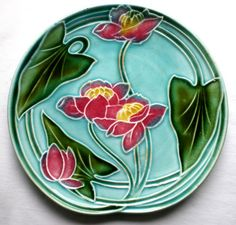 assiette barbotine Art Nouveau: Les LOTUS