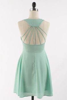 Life Radiance Cutout Multi Strap Back Skator Dress in Minty