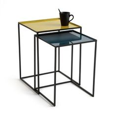 Tivara Square End Tables (Set of La Redoute Interieurs This set of 2 nested end tables is one of our top furniture picks for this season. These stylish tables with tray-style tops and interlocking stands. Large Coffee Tables, Coffe Table, End Table Sets, End Tables, Nottingham, Tray Styling, Metal Side Table, Nesting Tables, Metal Structure