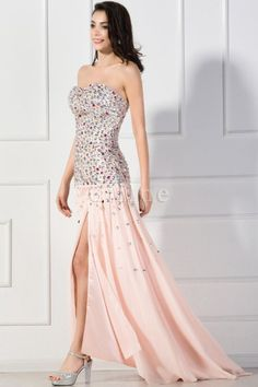 Reißverschluss Chiffon Elegantes & Luxuriöses Trägerloses Formelles Abendkleid