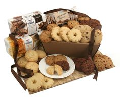 Biscuits Gifts - Cookies and Biscuits Delivered Next Day - Favourite Home Baked Biscuits Presented in Brown Kraft Style Gift Box Wrapped in Cellophane and Finished with Ribbon Mother's Day Gift Baskets, Gift Hampers, Toffee Cookies, Chocolate Chip Cookies, Cookie Gifts, Food Gifts, Gifts Delivered, Unique Recipes, Baby Food Recipes