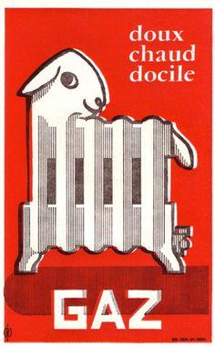 Advertisement for Gaz heating, 1955.