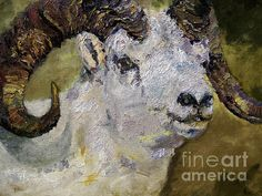 Dall Sheep Ram Wildlife Portrait - Original Painting Recreation by artist Ginette Callaway