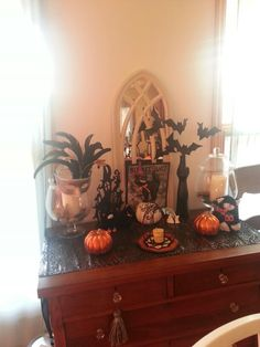 Decorated side board table halloween
