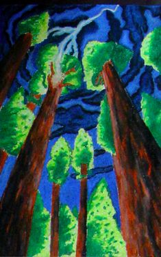 worms eye view pastel drawing - based on tree paintings by Emily Carr (here are some examples of her work highlakesartinabo...)