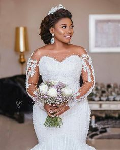 What a Bride To Behold- Her Hair Makeup And Dress Are Goals; Watch Video Of Bride Flaunting It All - Wedding Digest Naija African Wedding Dress, Sexy Wedding Dresses, Wedding Attire, Bridal Dresses, Ghana Wedding Dress, African Bridesmaid Dresses, Mermaid Dresses, Luxe Wedding, Wedding Day