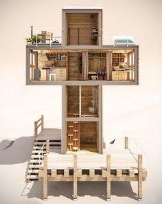 Concept for cross-shaped micro home built from shipping containers