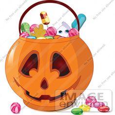 #56445 Royalty-Free (RF) Clip Art Illustration Of Halloween Candy In A Jack O Lantern Pumpkin Basket by pushkin