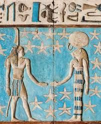 the Gemini Zodiac sign represented by the Divine twins Shu (at left) and Tefnut (at right, lioness-headed); from the astronomical ceiling of the Hypostyle Hall of the Temple of Hathor at Nitentore (Dendera)