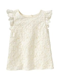Gap Lace Flutter Top - ivory frost