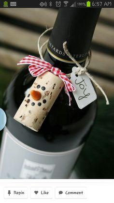 Snowman wine cork craft