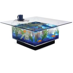 The Aquarium Coffee Table - Hammacher Schlemmer ($700) ❤ liked on Polyvore featuring home, furniture, tables, accent tables, interior and coffee tables