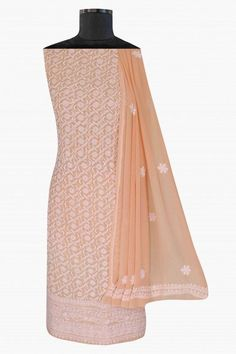 Ada Hand Embroidered Peach Pure Georgette Lucknowi Chikan Unstitched Suit Piece-A171903 offers a comfortable and relaxed silhouette to the wearer. Kindly connect us on +91-8795160153