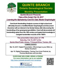 February 2017 presentation #QuinteOGS #genealogy Handwriting Analysis, The Script, Research, Genealogy, How To Become, February, Presentation, The Unit, Search