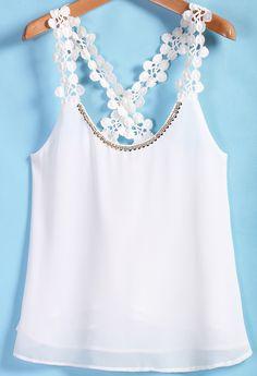 Shop White Lace Spaghetti Strap Chiffon Vest online. Sheinside offers White Lace Spaghetti Strap Chiffon Vest & more to fit your fashionable needs. Free Shipping Worldwide!