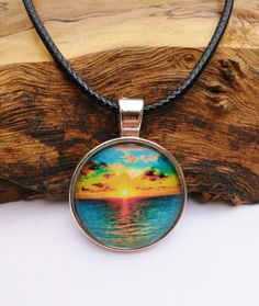 Sunset at the Beach Necklace + Free Shipping - beachy jewelry, beach pendant, sunset jewelry, hippie jewelry, summer jewelry by FeathersandStars on Etsy