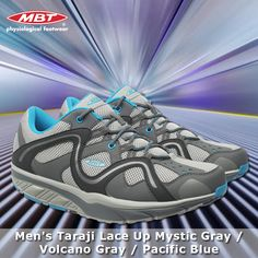 Men's Taraji Lace Up Mystic Gray / Volcano Gray / Pacific Blue Runing Shoes, Pacific Blue, Mystic, Revolution, Trainers, Footwear, Lace Up, Shades, Grey