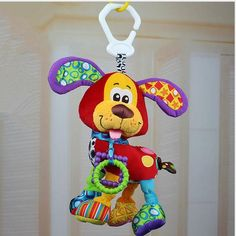 NEW  Brand Bed stroller Hanging 37cm Dog Plush vibration Toy Rattle Teether newborn baby Gift Multifunction Educational