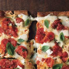 Epicurious' Cherry Tomato Pizza Margherita. This is my go-to recipe for simple and delicious pizza. I buy the regular Pizza Dough from Trader Joe's, and use a pizza stone.