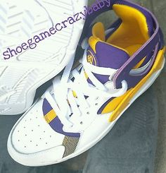 hot sale online 60884 2bf7c Nike Flight Huarache (GS) Lakers White Univer Gold Court Purple 705281-101  size7