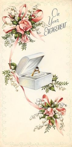 """On Your Engagement"" ~ Vintage postcard"