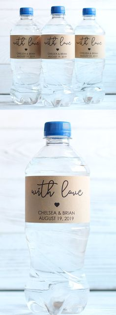 6d35033c83 WITH LOVE - Wedding Welcome Bag, Wedding Water Bottle Labels, Personalized  Favors, Rustic Kraft Labels