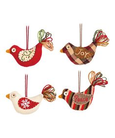 Fabric Bird Ornament - Set of Four #zulily #zulilyfinds