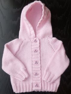 Handmade knitted baby girls hoodie cardigan in by BulldogKnits, £17.00