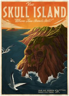 If reality has been hard to handle lately why not get away to a fantasy destination of your choosing. Like Skull Island. | 19 Gorgeous Retro Travel Posters To Fantasy Destinations