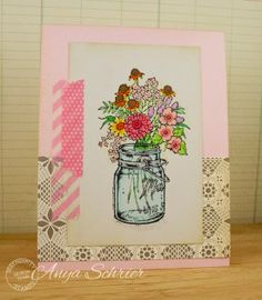 Created by Anya Schrier using the newly released Wildflowers and Mason Jar images from Serendipity Stamps.