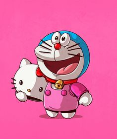 Doraemon and Hello Kitty Illustration by Alex Solis Doraemon, Cultura Pop, Cartoon Icons, Cartoon Art, Pablo Picasso, Alex Solis, Wallpapers Tumblr, Graffiti, Chicago Artists