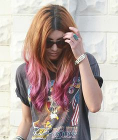 hazelnut to pink ombre hair color