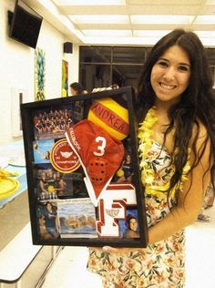 remembrance board for seniors in a sport at Senior Night. Letter, item from team, patch, photos Senior Softball, Senior Day, Sports Mom, Sports Gifts, Coach Gifts, Team Gifts, Senior Night Gifts, Polo Team, Swimming Diving