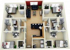 gambar 3d desain rumah minimalis dengan 4 kamar tidur