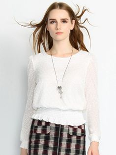 White Long Sleeve Round Neck Lace Shirt - $27.00-Tops