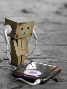 Danbo chills out listening to his iPod.