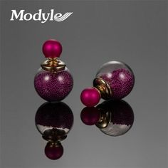 ee16823a907 Modyle Gold-Color fashion jewelry thick glass beads stud double ball  earrings. Glass EarringsWomen s EarringsGlass BeadsEarring ...