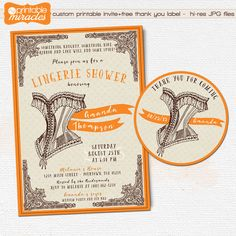 Lingerie shower invitation / Vintage printable bridal shower invitation / Bachelorette party / Lace corset costume party invite by MyPrintableMiracles on Etsy https://www.etsy.com/listing/192370924/lingerie-shower-invitation-vintage