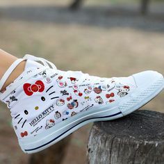 Women's Converse Chuck Taylor All Star Hello Kitty High Top Casual Shoes Hello Kitty House, Hello Kitty Vans, Hello Kitty Clothes, Hello Kitty Items, Sanrio Hello Kitty, Women's Shoes, Sock Shoes, Me Too Shoes, Estilo Harajuku