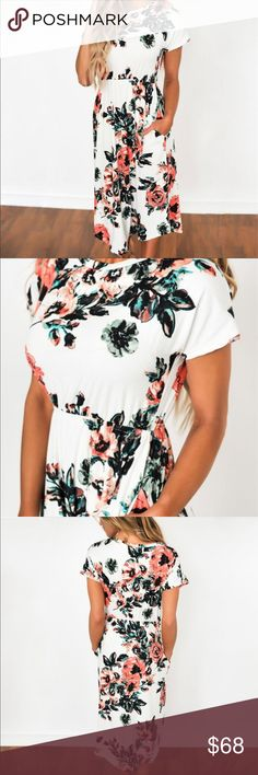 🌺🆕 | NWT | Gorgeous Floral Dress Brand new, still in shipping packing. The neckline is a mixture of a bateau and a Sabrina styled neckline. This romantic dress cinches at the waist with fabric lined elastic and has cap sleeves. It has a flowing skirt and would be gorgeous for any occasion. Size chart is included with the pictures above. Price is always negotiable, and I love offers! If you have any questions, please don't hesitate! ❌⭕️❌⭕️ Dresses