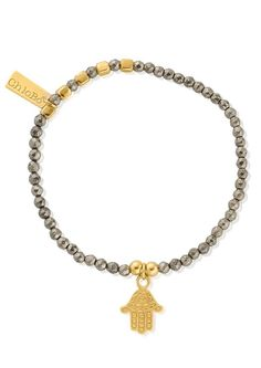 ChloBo Sun Dance Pyrite Bracelet with Decorated Hamsa Hand - Gold in Grey