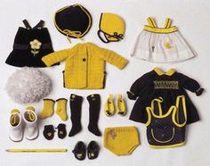 teensy weeny yellow black and white outfits