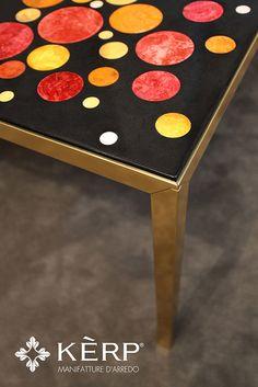 Kérp MINIMAL table. Top decorated with Scagliola Carpigiana