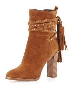 Palmer Suede Tassel Bootie, Saddle by Michael Kors Collection at Neiman Marcus. Tan Boots, Suede Ankle Boots, Suede Booties, Suede Shoes, Flat Shoes, Ankle Booties, Bootie Boots, Shoes Heels, Shoes