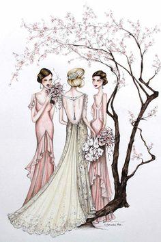 (••)                                                                  Alexandra Nea's favourite Bridal illustrations   Harper's BAZAAR