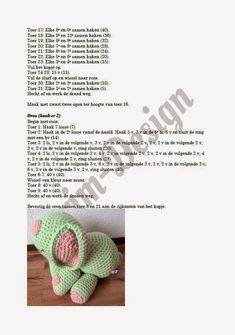 Drim-Design Haakwerk: Haakpatroon olifantje Crochet Doll Pattern, Crochet Toys, Crochet Patterns, Cuddling, Crochet Necklace, Dolls, Design, Knitting And Crocheting, Tricot